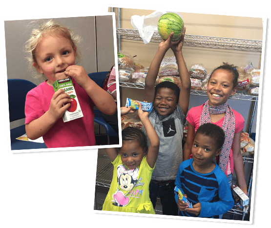 image of little girl drinking apple joice box and another image of four kids two boys two girls holding food items